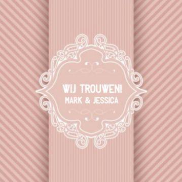 Trouwkaart roze strepen en klassiek ornament