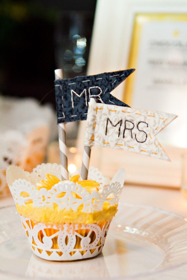 Sweet handstitched take on cupcake flags. Photography by rachelmoorephoto.com, Wedding Day Coordination by destinationnashville.com