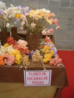Flores com escama de peixe passo a passo - Artesanato passo a passo!