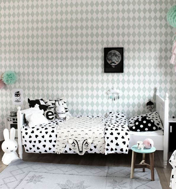 Harlequin wallpaper by Ferm Living, and our fab black Für Neil screenprint in this lovely room!