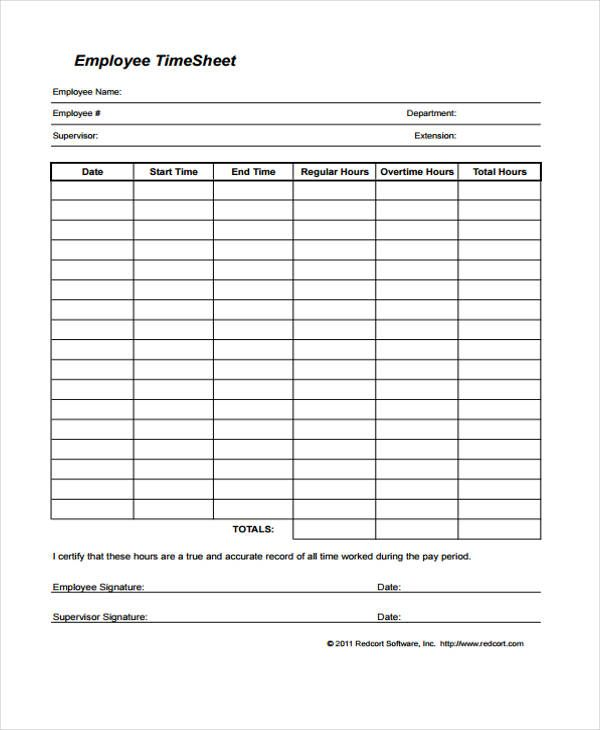 Employee Timesheet Template | Timesheet template