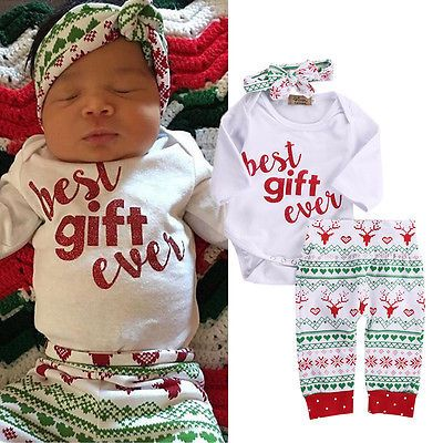 >> Click to Buy << Infant Baby Girl Boy Clothese set 3pcs Long Sleeve Romper+Pants Leggings Headbands baby Christmas Outfits Costume #Affiliate