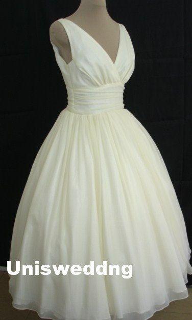Ivory chiffon tea length v neck simple elegant wedding dress on Etsy, $229.71 AUD
