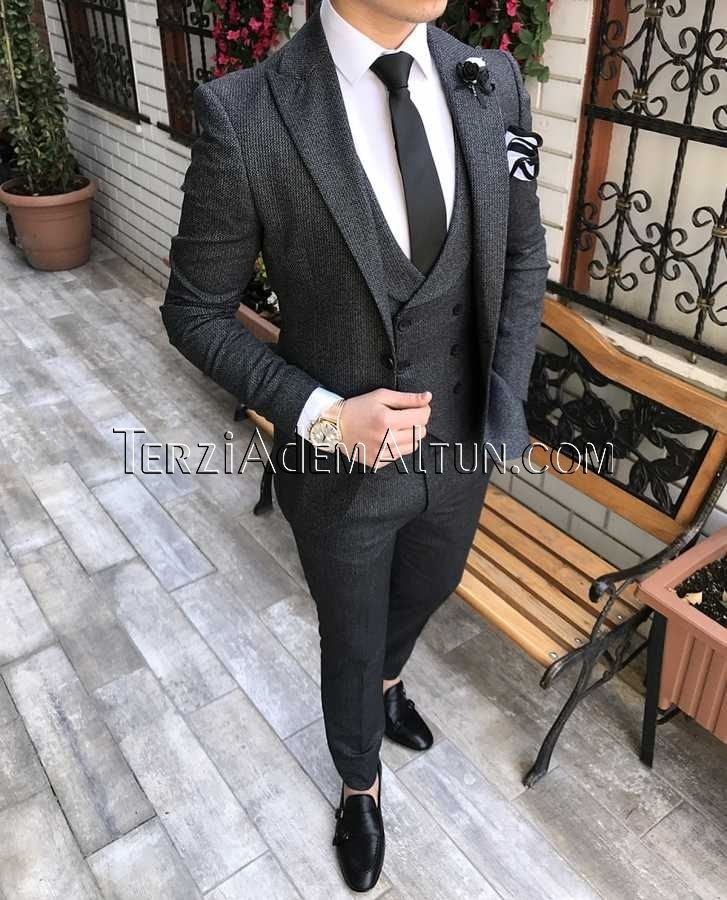 986c4e7af4963 İtalyan stil erkek ceket yelek pantolon siyah takım elbise T2336 ...
