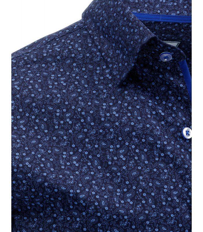 Tmavomodrá pánska košela so vzorom a dlhými rukávmi