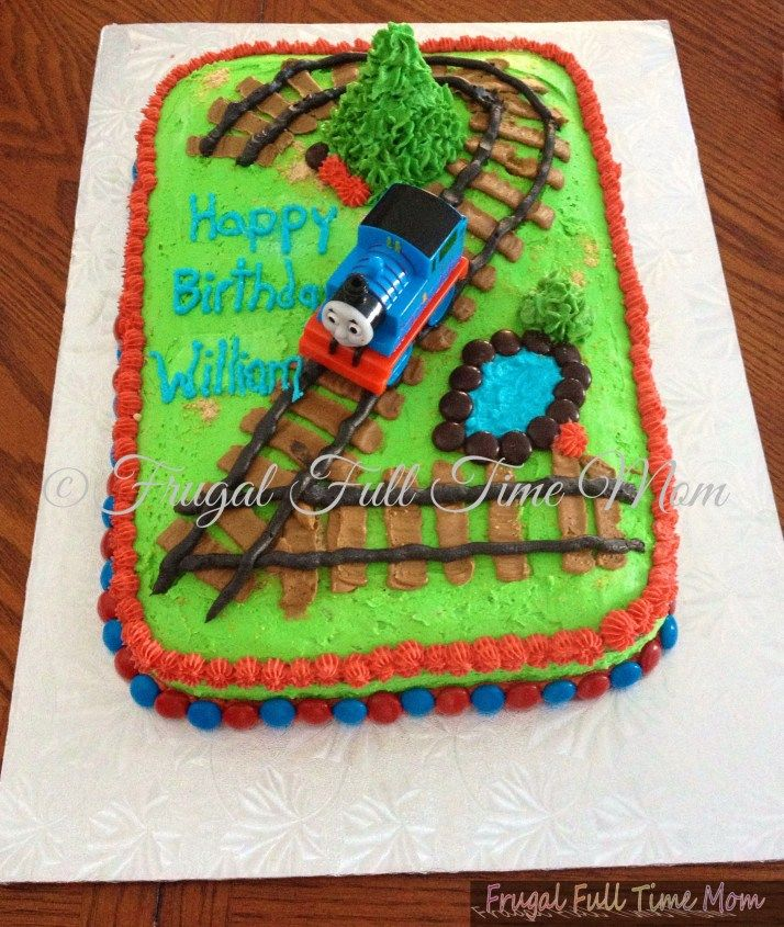 Thomas The Train Birthday Cake-  much easier than trying to make a number shaped cake.... but same concept.  ****