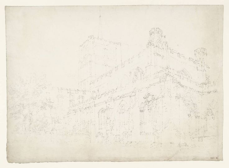 Joseph Mallord William Turner 'St Albans Abbey from the North-East',  - From Hertfordshire and Middlesex  -  1793  -  Graphite on paper -  Dimensions Support: 282 x 394 mm -  Collection -  Tate