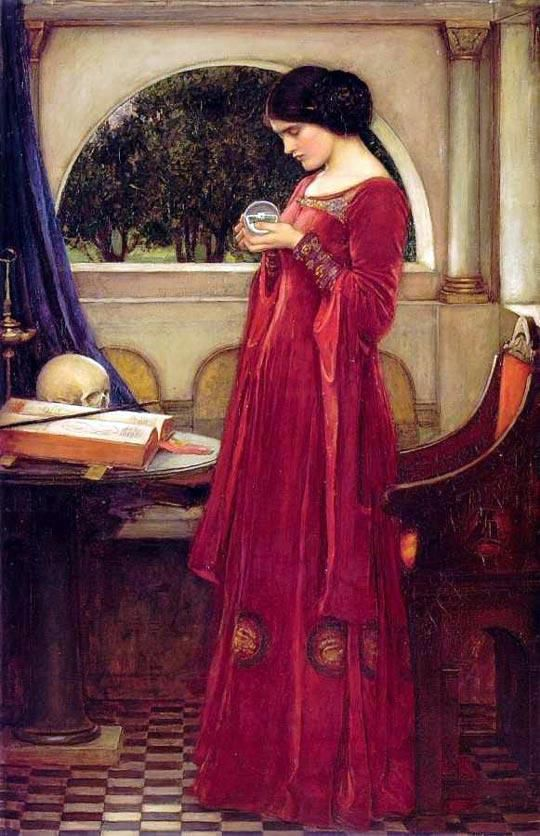 """The Crystal Ball"".  (1902). ""A Bola de Cristal"". (by John William Waterhouse)."