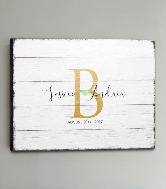Wedding Guest Book Wood  30-150 Guests  Gold by PrintCafeMonograms