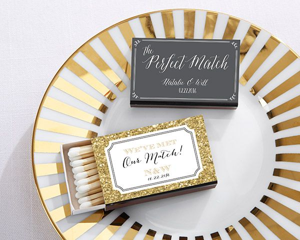 Matchboxes are practical favors that guests will actually use after your big day! Make them uniquely yours with Kate Aspen's personalized designs!