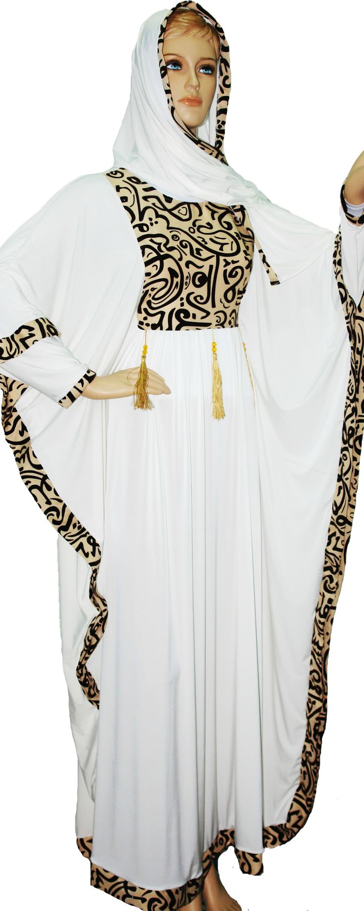 Butterfly Abaya with Velvet Embroidery on Bust and Sleeves White