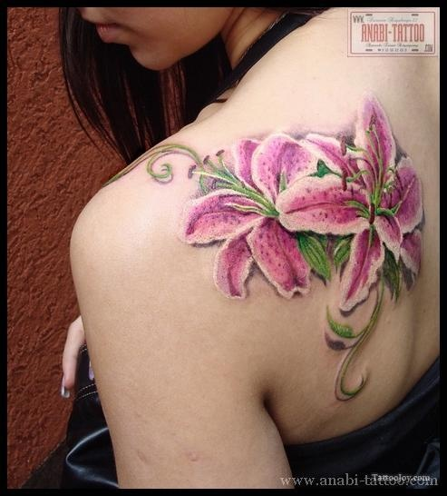Stargazer lily tattoo- almost the exact size and placement I want.... and incorporate Lily's freezbrand into one of the petals :)