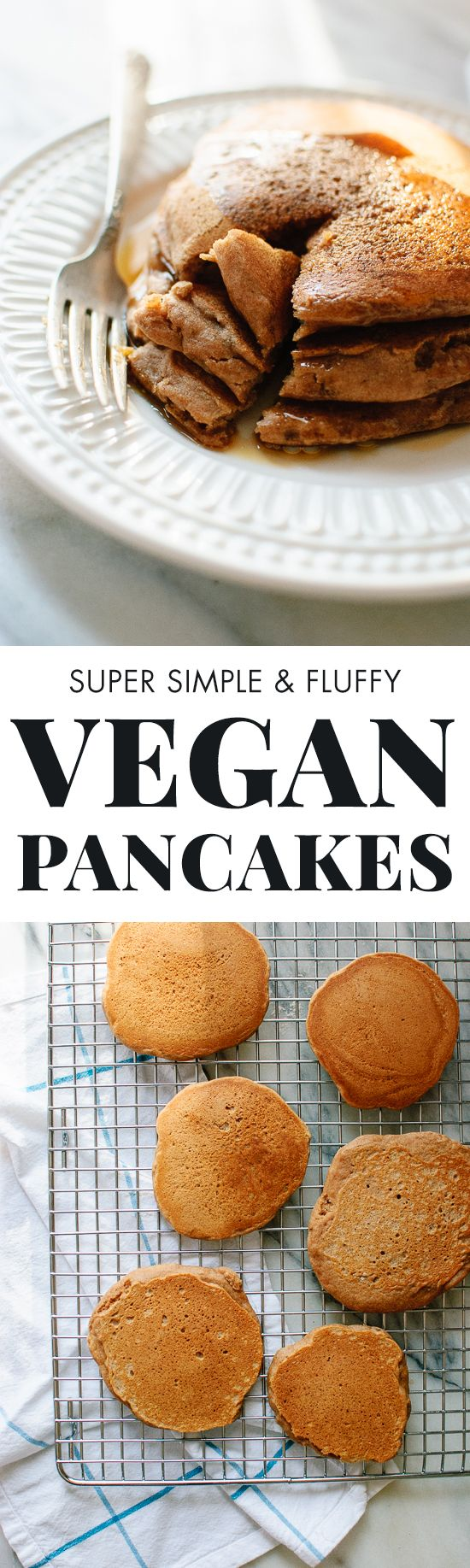 Super simple, healthy vegan pancakes. Who knew that eggless, whole grain pancakes could be so fluffy and delicious?! cookieandkate.com
