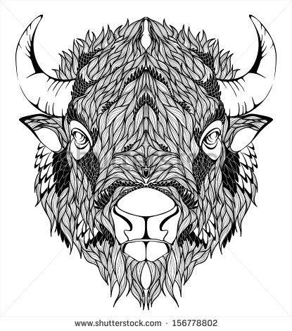 Bison Mascot Head