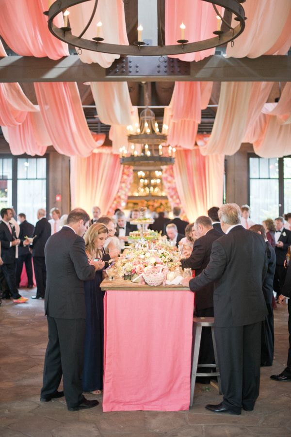 Love the use of pink fabric- gorgeous! Southern Weddings Magazine