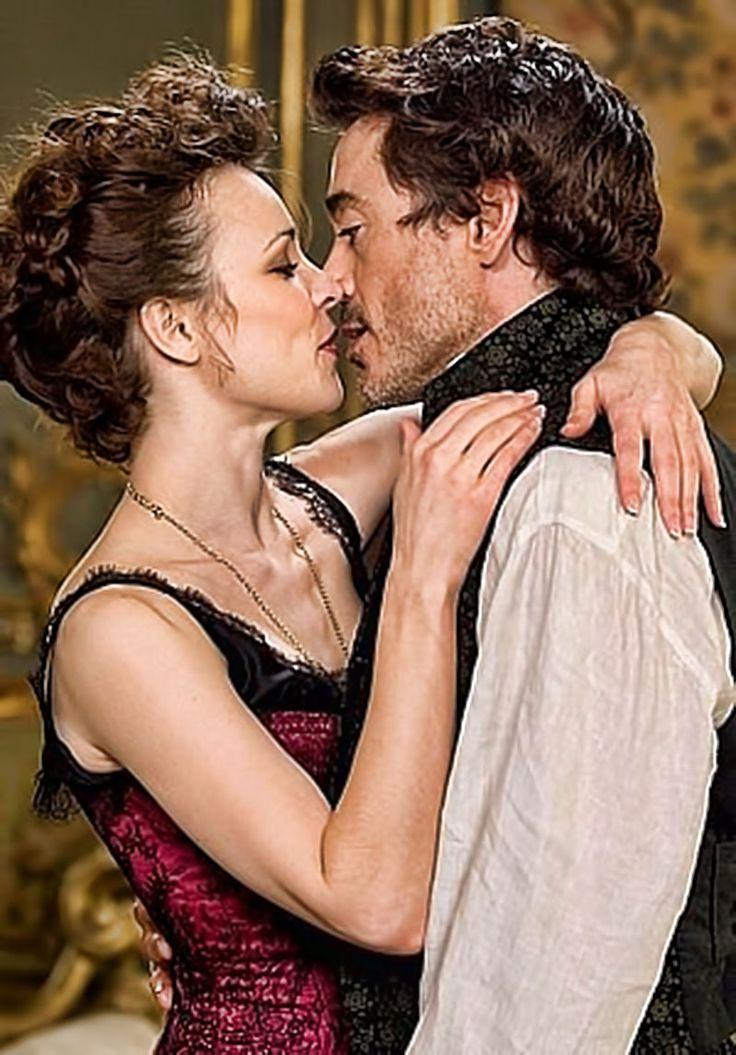 "Rachel McAdams as Irene Adler and Robert Downey Jr. as Holmes in ""Sherlock Holmes"""