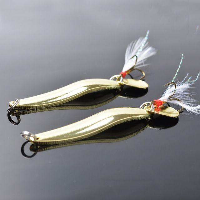 5 pcs/lote métal Spinner Spoon leurres de pêche eau douce basse doré paillettes bruit Paillette avec plume hameçon triple 10 / 13 g