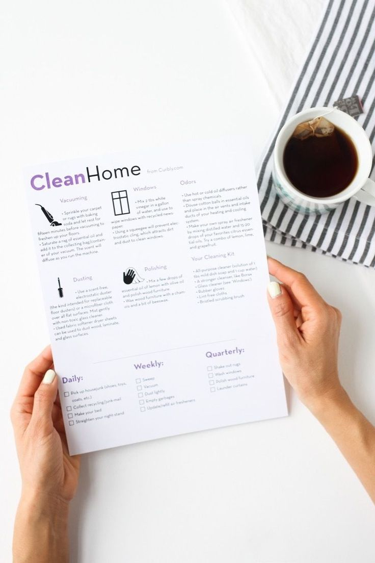 Home cleaning cheat sheet
