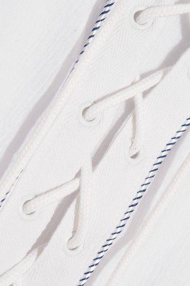 Koza - Faye Lace-up Cotton-gauze Kaftan - White - x large