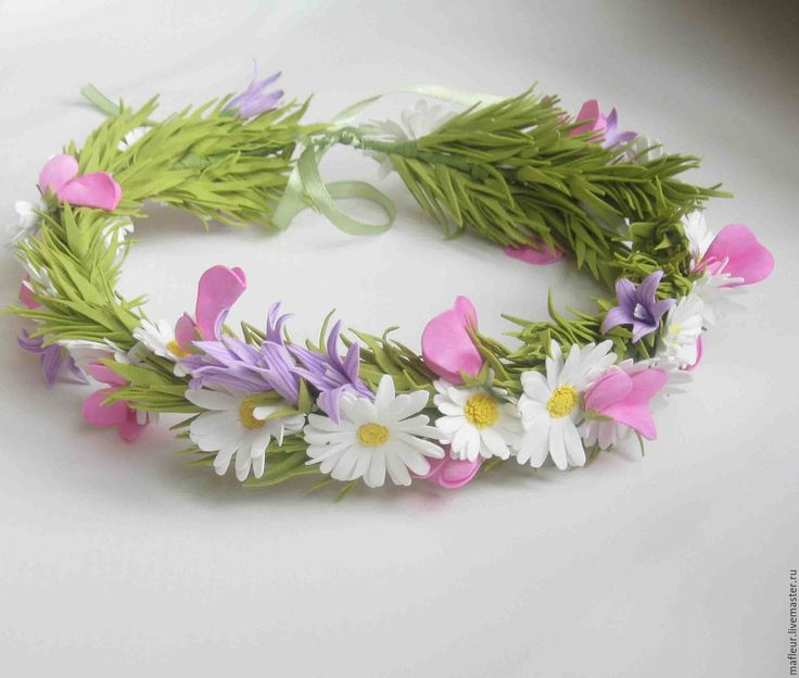 Купить Венок с полевыми цветами из фоамирана - комбинированный, венок из цветов, венок на голову, цветы из фоамирана