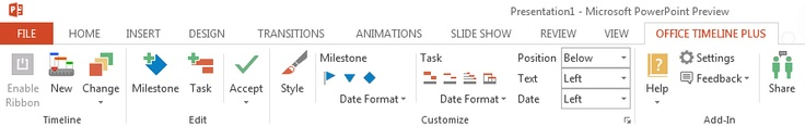 Office Timeline Ribbon in PowerPoint