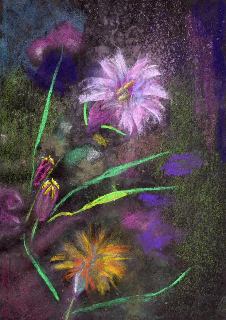 Wild Flowers2. Chalk Pastel. qusay.alkhateeb.se
