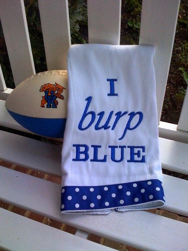 Embroidered burp cloth - Kentucky UK Wildcats Blue. $10.00, via Etsy.