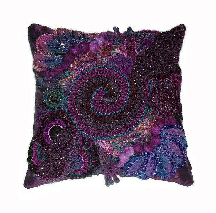 Purple Plum Throw Pillow Cushion Cover Freeform Crochet OOAK. $199.00, via Etsy.