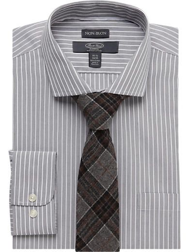 Shirt and tie combos black stripe shirt and brown plaid for Brown and black plaid shirt