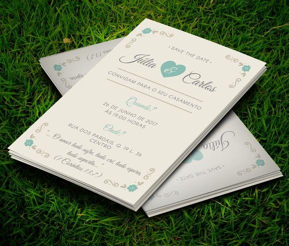 Convite Casamento Vintage 10x7cm C/ Env.
