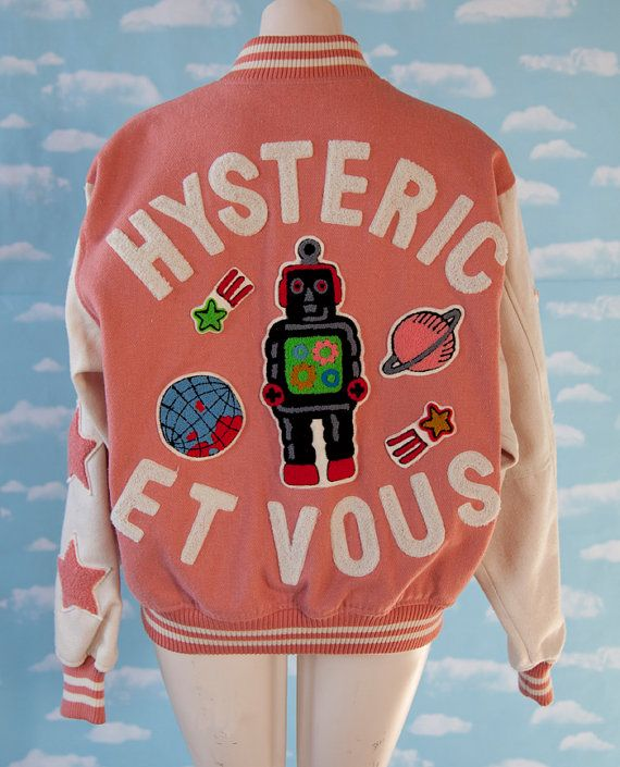 AMAZING Hysteric Et Vous Pink and White Robot Planet Letterman Jacket