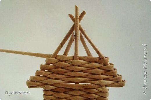 Мастер-класс Поделка изделие Плетение Домик и мельница Трубочки бумажные фото 13