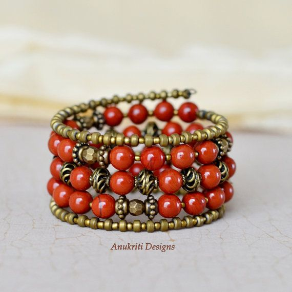 Red Jasper memory wire bracelet Memory wire by AnukritiDesigns