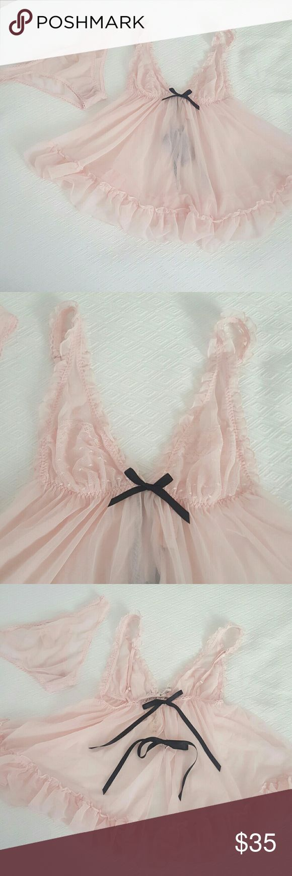 Victoria's Secret babydoll lingerie with panty Beautiful details, 2 piece set, new with tags. Victoria's Secret Intimates & Sleepwear Chemises & Slips