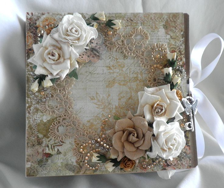 shabby chic crafts to make | made this beautiful album with paper bags and book binding, lace ...