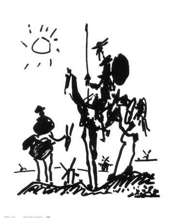 by Pablo Picasso, Don Quixote - c.1955 My first piece of artwork, hanging in my dorm room.