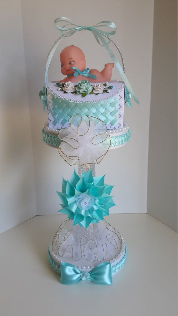 turquoise baby shower centerpiece baby shower by sliceofdreams