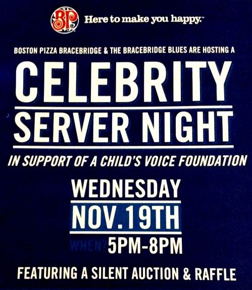 Boston Pizza Bracebridge is hosting a Celebrity Server Night with the Bracebridge Blues this Wednesday night in support of A Child's Voice Foundation!  Meet the team, enjoy a meal, and try your luck at the event raffle and silent auction while supporting A Child's Voice Foundation's Angel Hair for Kids and Kids Life Line programs. Call 705.646.1007 to make your reservation today. #donate #Bracebridge #AngelHairforKids #KidsLifeLine #ACVF