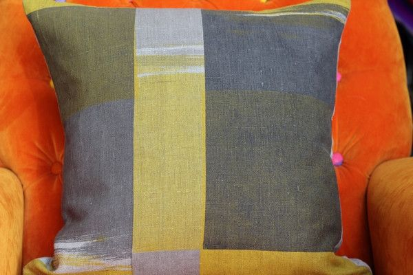 Hand Printed by Smitten Design - Cushion Cover in Yellow/Charcoal 45cm x 45cm