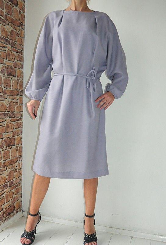 febdb7d3564b46 Sukienka wrzosowa klasyczna midi 46 / 48 w 2019 | dress | Sukienka ...