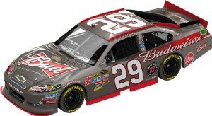 Kevin Harvick Lionel Nascar Collectables 2012 Budweiser Brushed Metal Diecast by RacingGifts. $95.00. This new Nascar Collectible is a 1:24 scale limited edition diecast collectible that includes over 100 working total parts. With a diecast body and chassis, this sleek replicas authenticity is evident. Key features also include: hood and trunk open, manufacturer-specific engine detail, accurate header contour and simulated exhaust openings. Each 1:24 scale diecast will also cont...