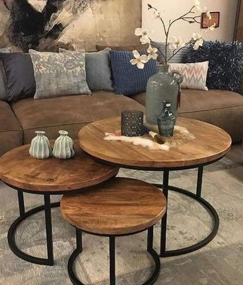 I love how these tables can slide into themselves table home homedecor