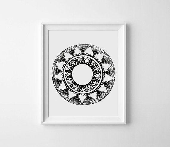 Black Mandala Print Hand Drawn Mandala Print Aztec by WestridgeART