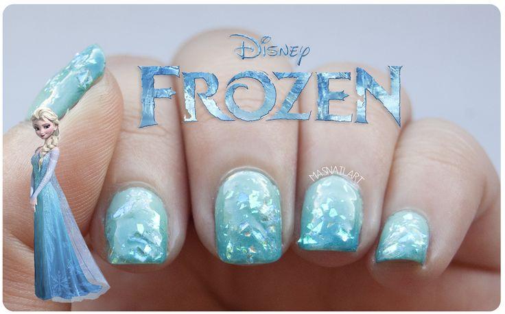 Más nail art.: NOTD: Uñas degradadas con escarcha inspiradas en la película Frozen de Disney.