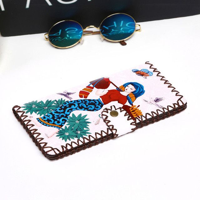 ROMERO BRITTO Pu Wallets For Coin & Photo Girl Long Handmade Money Clips Ladies Graffiti Hasp Clutch Purse Female Money Bag