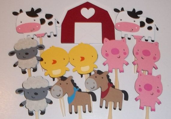Set of 24 Farm Animal Cupcake Toppers, Farm Animal Themes, Pigs, Cows, Sheep, Horse, Party Decor, Baby Shower, Birthday Parties