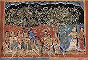Krishna e Gopis na floresta, em pintura indiana do século 16
