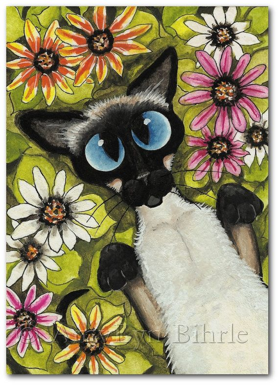 Siamese Cat Wild Flowers Art Art Prints or ACEO by