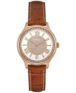 Guess Women's Brown Leather Strap Watch 37mm U0840L2 - Gold