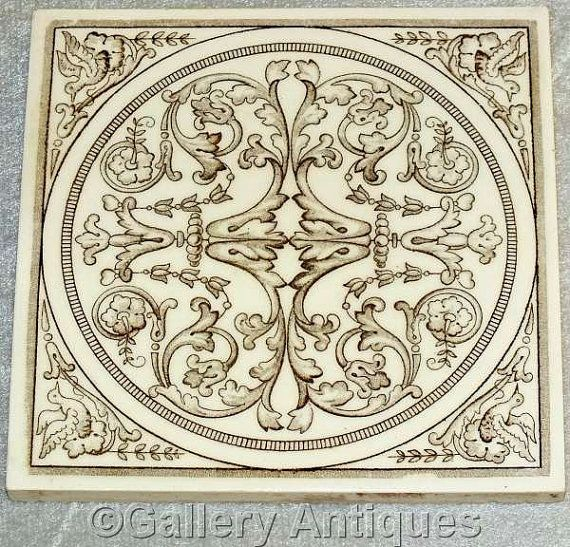 Antique art nouveau Victorian Minton Hollins Dark Brown and Off White Floral Aesthetic with Birds Transfer Printed Tile c.1890's (ref: H106)
